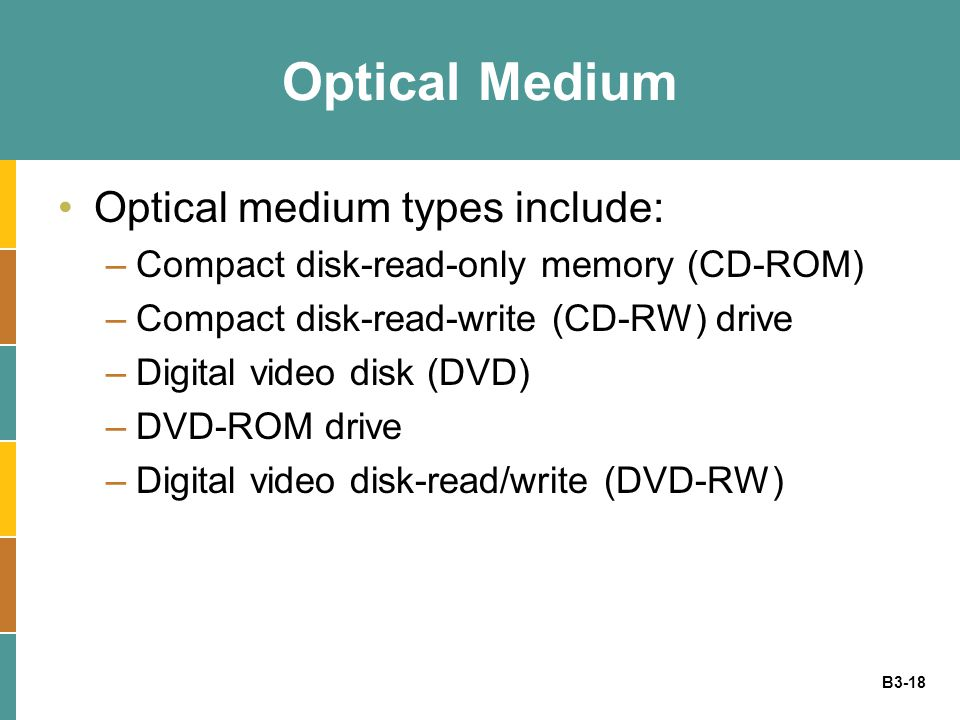 B3-18 Optical Medium Optical medium types include: –Compact disk-read-only memory (CD-ROM) –Compact disk-read-write (CD-RW) drive –Digital video disk (DVD) –DVD-ROM drive –Digital video disk-read/write (DVD-RW)