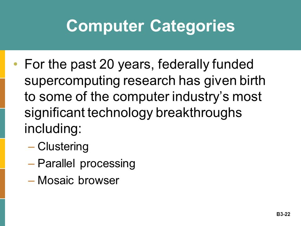 B3-22 Computer Categories For the past 20 years, federally funded supercomputing research has given birth to some of the computer industry's most significant technology breakthroughs including: –Clustering –Parallel processing –Mosaic browser