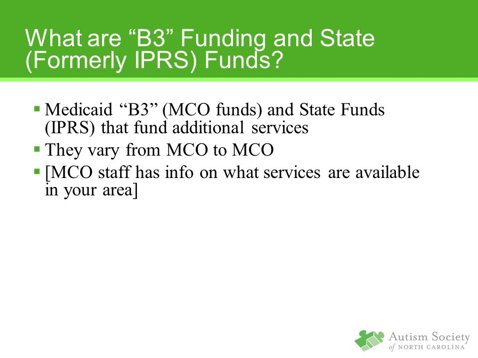 What are B3 Funding and State (Formerly IPRS) Funds.