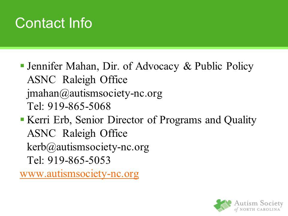 Contact Info  Jennifer Mahan, Dir.