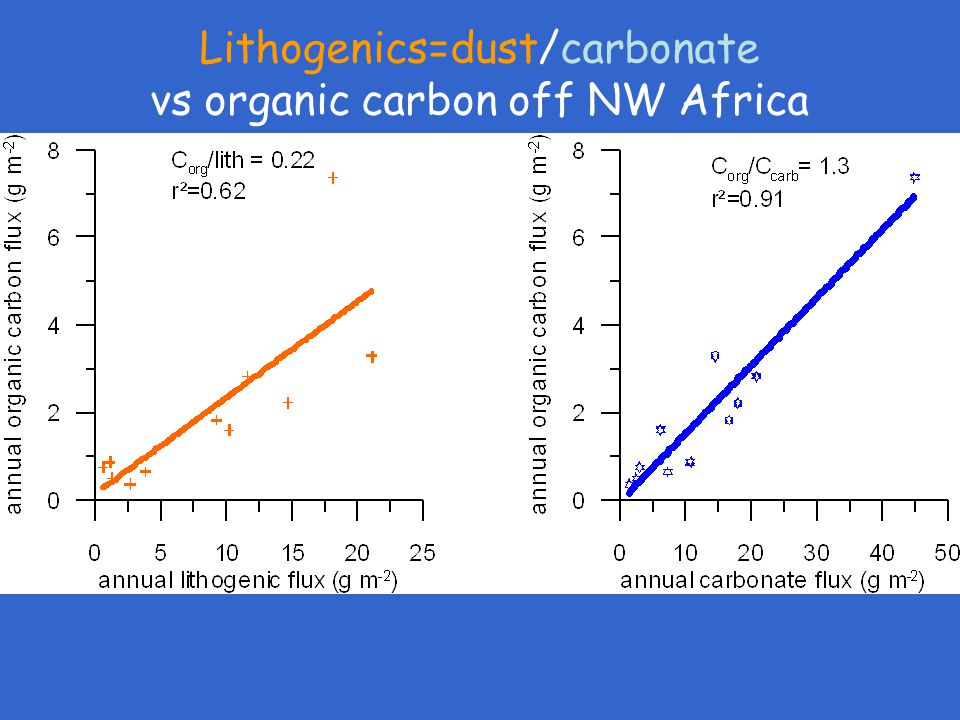Lithogenics=dust/carbonate vs organic carbon off NW Africa