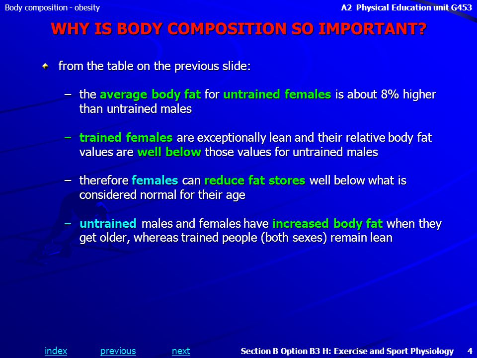 indexpreviousnext Body composition - obesityA2 Physical Education unit G453 Section B Option B3 H: Exercise and Sport Physiology 4 WHY IS BODY COMPOSITION SO IMPORTANT.