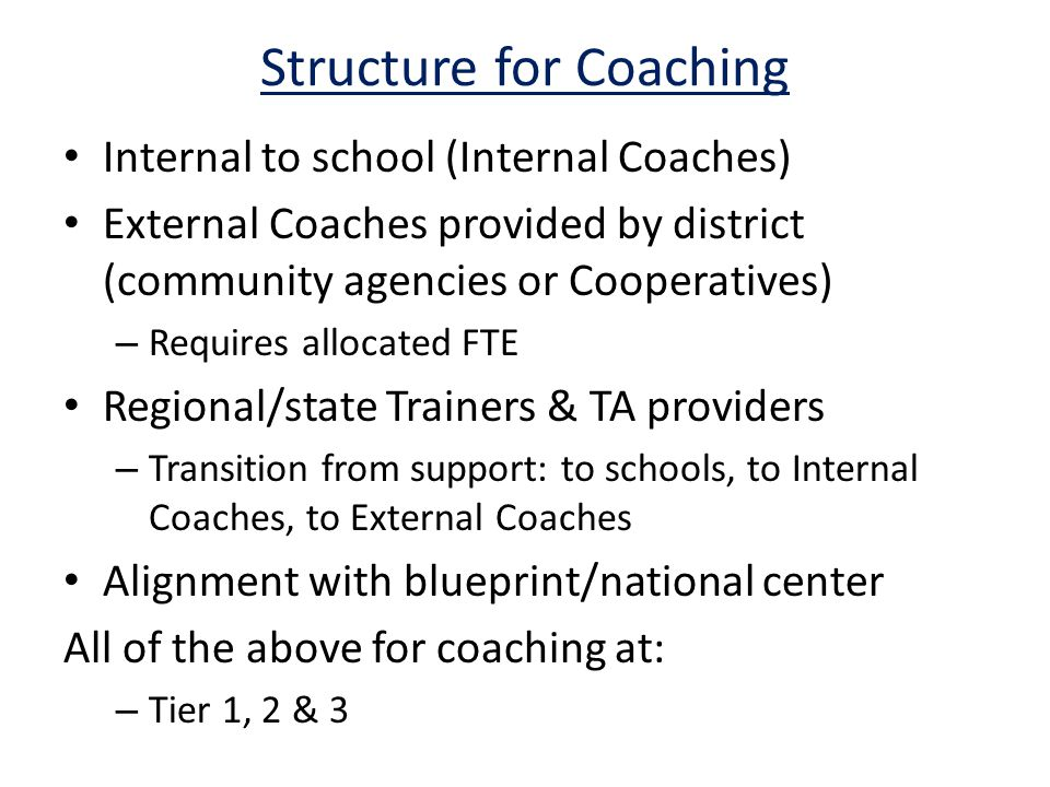 Structure for Coaching Internal to school (Internal Coaches) External Coaches provided by district (community agencies or Cooperatives) – Requires allocated FTE Regional/state Trainers & TA providers – Transition from support: to schools, to Internal Coaches, to External Coaches Alignment with blueprint/national center All of the above for coaching at: – Tier 1, 2 & 3