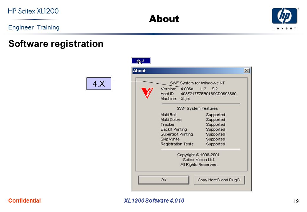 Engineer Training XL1200 Software 4.010 Confidential 19 4.X About Software registration