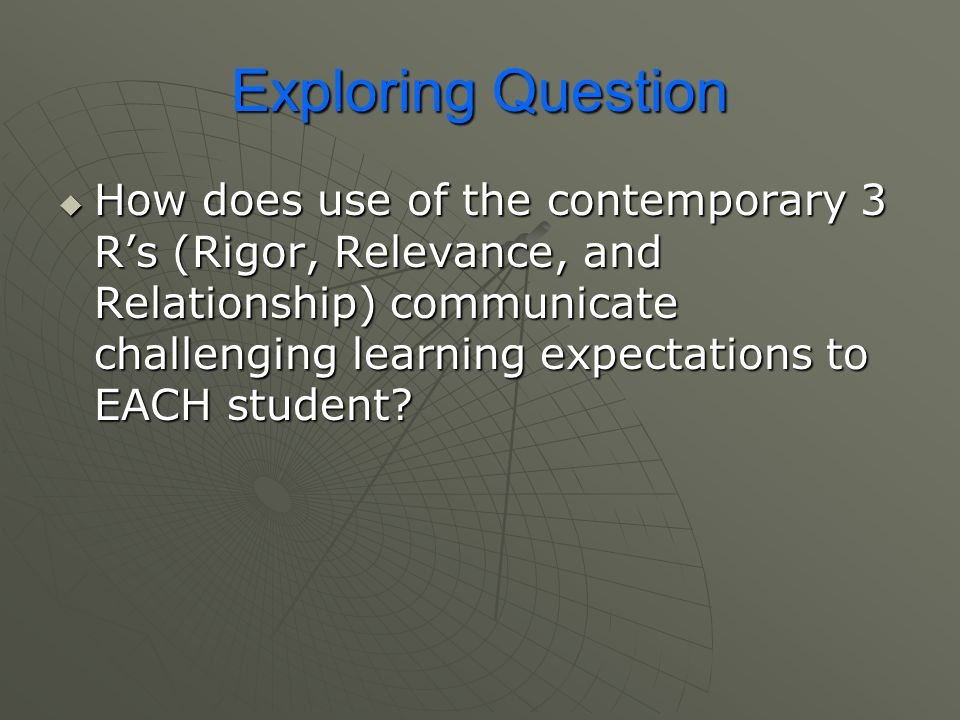 Exploring Question  How does use of the contemporary 3 R's (Rigor, Relevance, and Relationship) communicate challenging learning expectations to EACH