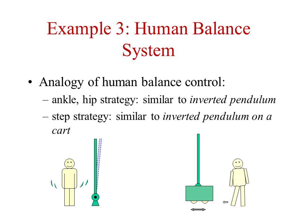 Example 3: Human Balance System Analogy of human balance control: –ankle, hip strategy: similar to inverted pendulum –step strategy: similar to inverted pendulum on a cart