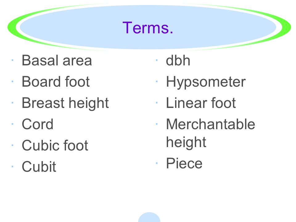 Student Learning Objectives. ·1. Describe the common units of measure used in forestry. ·2. Explain how to determine the diameter of a standing tree.