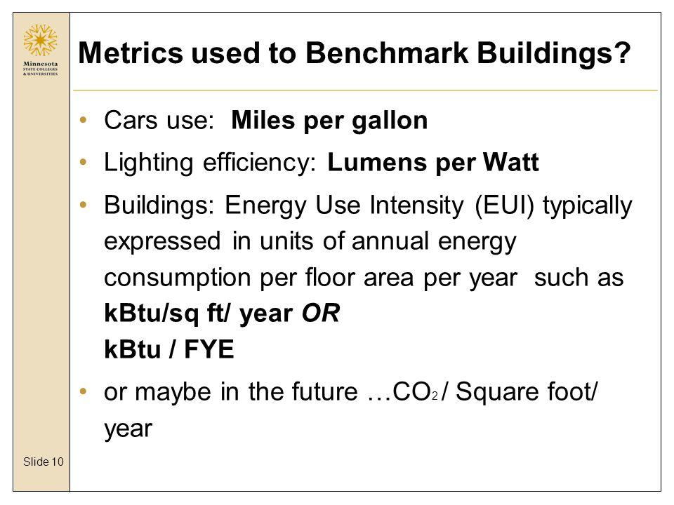 Slide 10 Metrics used to Benchmark Buildings.
