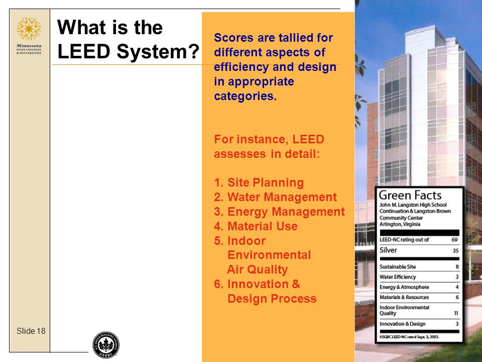 Slide 18 What is the LEED System.