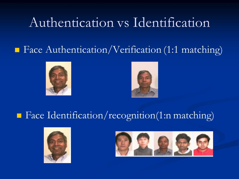 Applications It is not fool proof – many have been fooled by identical twins It is not fool proof – many have been fooled by identical twins Because of these, use of facial biometrics for identification is often questioned.
