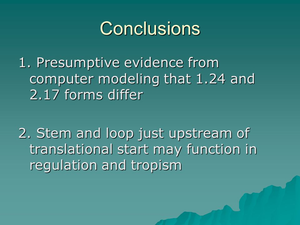 Conclusions 1. Presumptive evidence from computer modeling that 1.24 and 2.17 forms differ 2.
