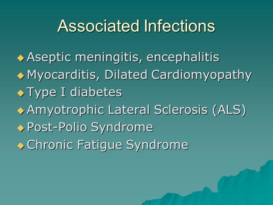 Associated Infections  Aseptic meningitis, encephalitis  Myocarditis, Dilated Cardiomyopathy  Type I diabetes  Amyotrophic Lateral Sclerosis (ALS)  Post-Polio Syndrome  Chronic Fatigue Syndrome