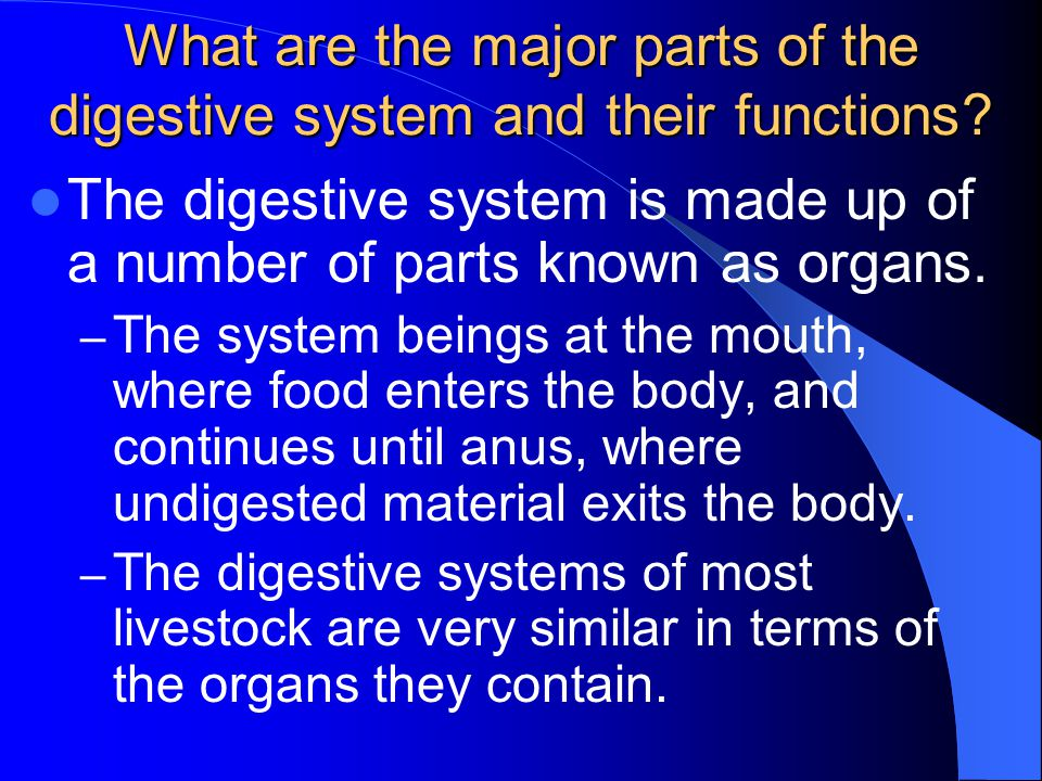 What are the major parts of the digestive system and their functions? The digestive system is made up of a number of parts known as organs. – The syst
