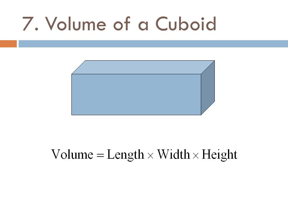 7. Volume of a Cuboid