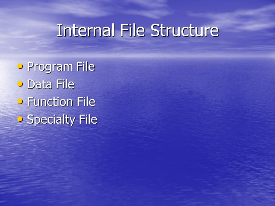 Internal File Structure Program File Program File Data File Data File Function File Function File Specialty File Specialty File