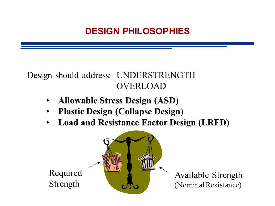 DESIGN PHILOSOPHIES Design should address: UNDERSTRENGTH OVERLOAD Allowable Stress Design (ASD) Plastic Design (Collapse Design) Load and Resistance Factor Design (LRFD) Required Strength Available Strength (Nominal Resistance)