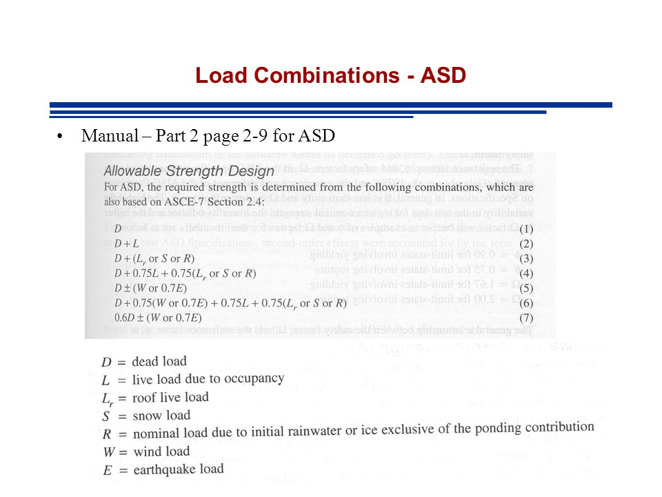 Load Combinations - ASD Manual – Part 2 page 2-9 for ASD