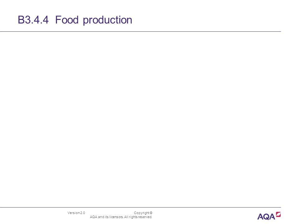 Version 2.0 Copyright © AQA and its licensors. All rights reserved. B3.4.4 Food production