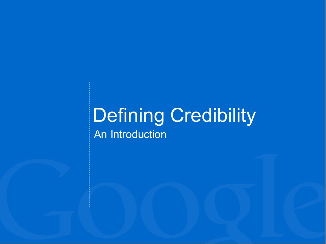 Defining Credibility An Introduction
