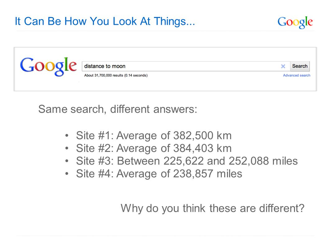 It Can Be How You Look At Things... Site #1: Average of 382,500 km Site #2: Average of 384,403 km Site #3: Between 225,622 and 252,088 miles Site #4: