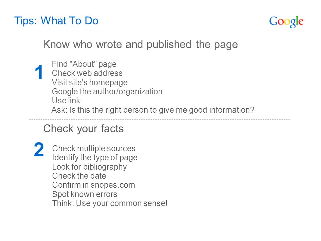 Tips: What To Do Know who wrote and published the page Find