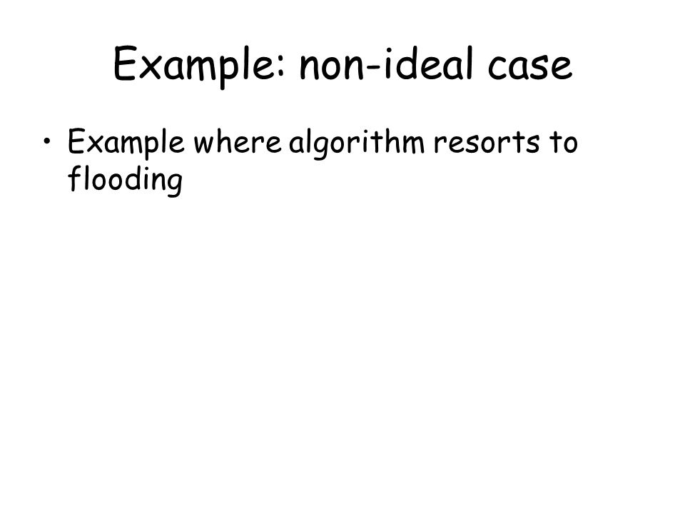Example: non-ideal case Example where algorithm resorts to flooding