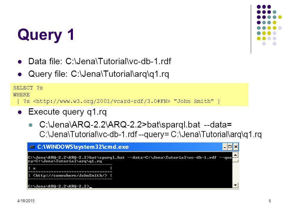 4/18/20156 Query 1 Data file: C:\Jena\Tutorial\vc-db-1.rdf Query file: C:\Jena\Tutorial\arq\q1.rq Execute query q1.rq C:\Jena\ARQ-2.2\ARQ-2.2>bat\sparql.bat --data= C:\Jena\Tutorial\vc-db-1.rdf --query= C:\Jena\Tutorial\arq\q1.rq SELECT ?x WHERE { ?x John Smith }