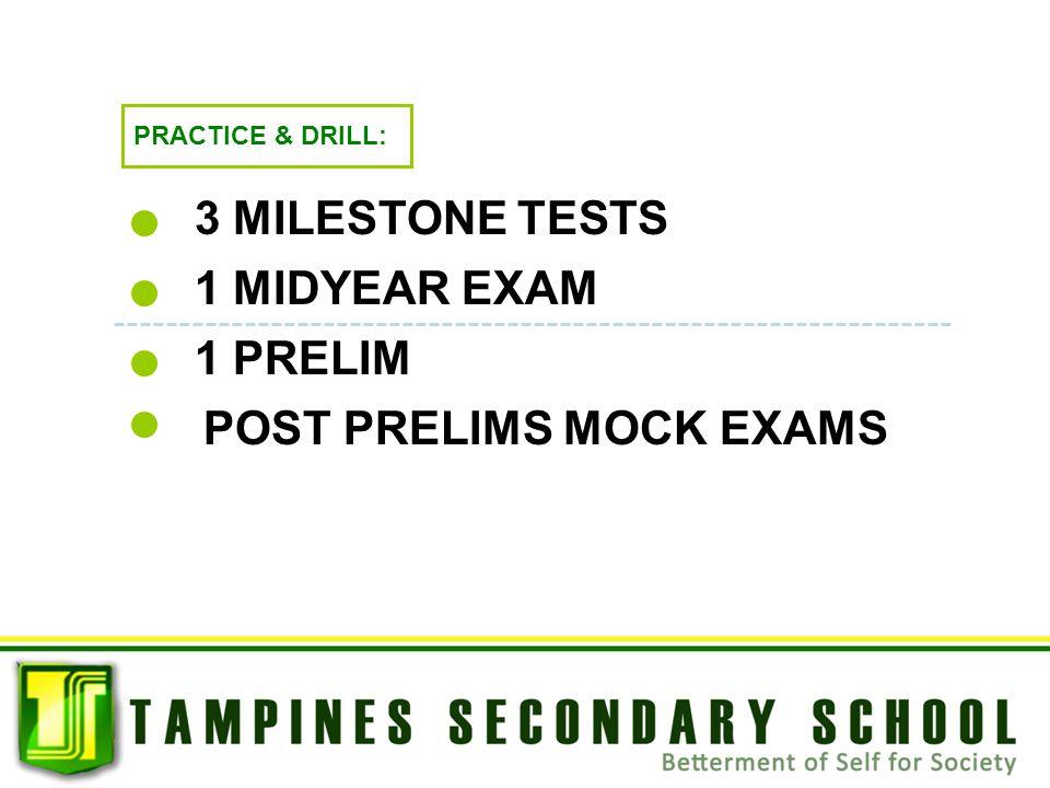PRACTICE & DRILL: 3 MILESTONE TESTS 1 PRELIM POST PRELIMS MOCK EXAMS 1 MIDYEAR EXAM