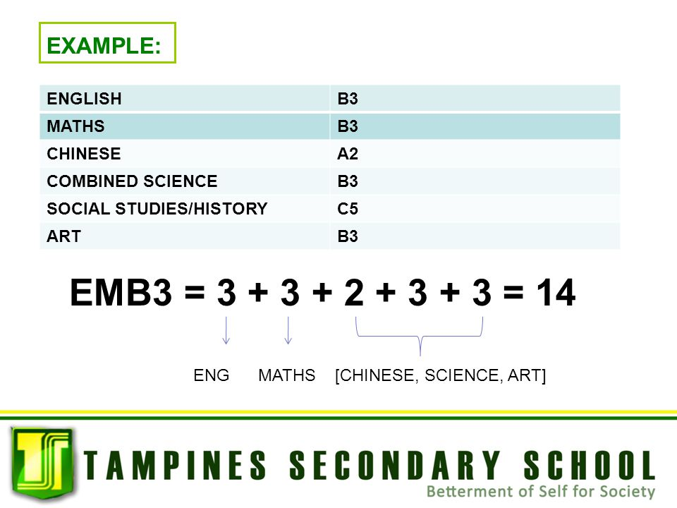 ENGLISHB3 MATHSB3 CHINESEA2 COMBINED SCIENCEB3 SOCIAL STUDIES/HISTORYC5 ARTB3 EXAMPLE: EMB3 = 3 + 3 + 2 + 3 + 3 = 14 ENG MATHS [CHINESE, SCIENCE, ART]