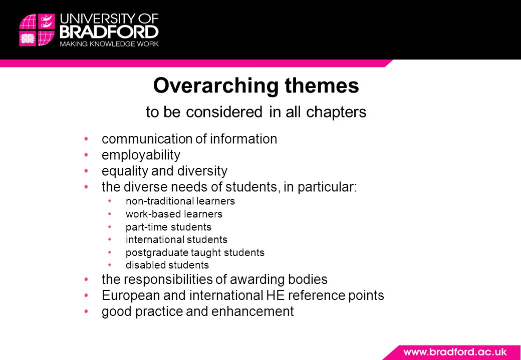 Overarching themes to be considered in all chapters communication of information employability equality and diversity the diverse needs of students, in particular: non-traditional learners work-based learners part-time students international students postgraduate taught students disabled students the responsibilities of awarding bodies European and international HE reference points good practice and enhancement