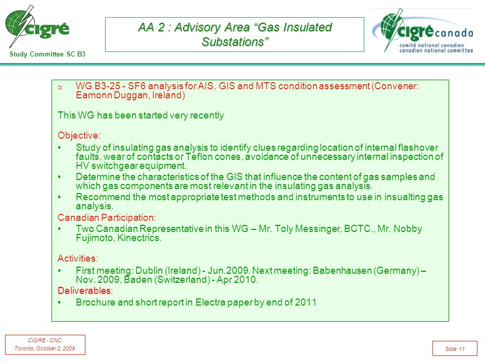 "Study Committee SC B3 CIGRE - CNC Toronto, October 2, 2009 Slide 11 AA 2 : Advisory Area ""Gas Insulated Substations""  WG B3-25 - SF6 analysis for AIS"