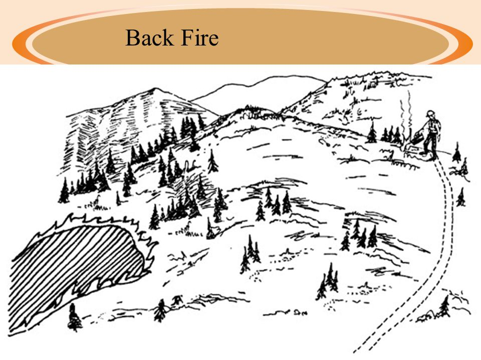 Ways to Put Out Fire ·Indirect Attack ·Removes Fuel (Triangle) ·Digging ditch, clearing a path, fire barrier ·Backfire – controlled fire set to burn fuel in front of the fire