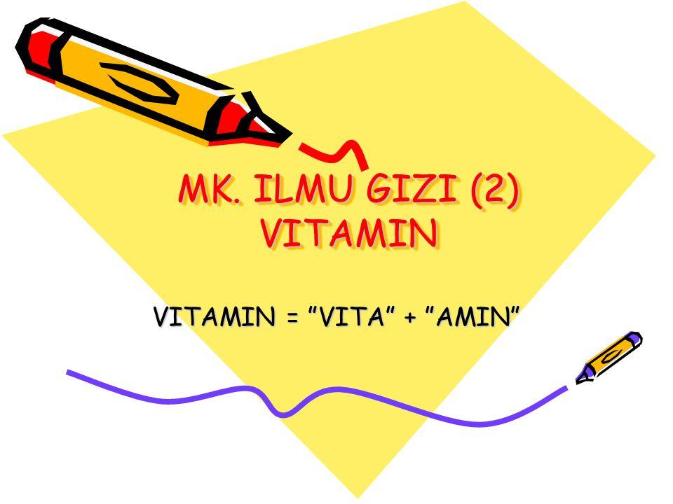 MK. ILMU GIZI (2) VITAMIN VITAMIN = VITA + AMIN