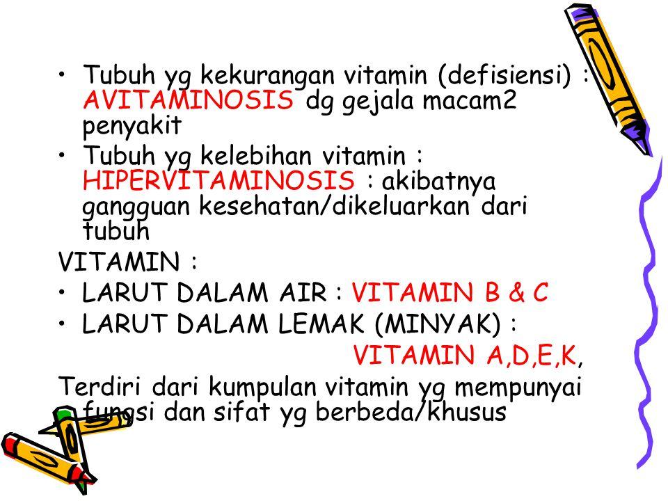 Tubuh yg kekurangan vitamin (defisiensi) : AVITAMINOSIS dg gejala macam2 penyakit Tubuh yg kelebihan vitamin : HIPERVITAMINOSIS : akibatnya gangguan kesehatan/dikeluarkan dari tubuh VITAMIN : LARUT DALAM AIR : VITAMIN B & C LARUT DALAM LEMAK (MINYAK) : VITAMIN A,D,E,K, Terdiri dari kumpulan vitamin yg mempunyai fungsi dan sifat yg berbeda/khusus