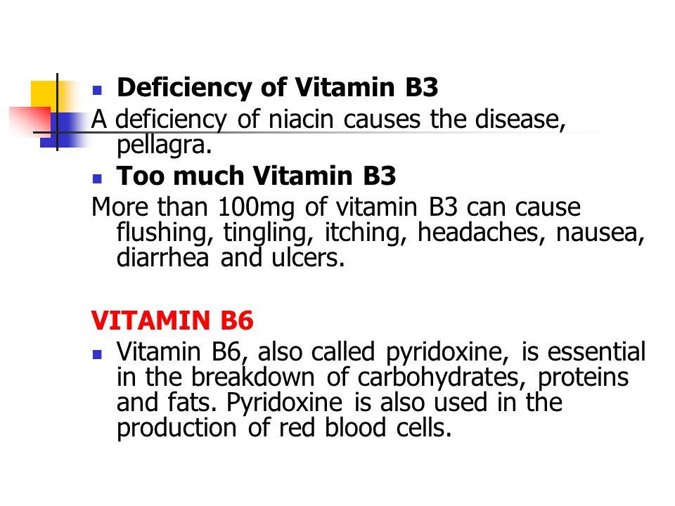 Deficiency of Vitamin B3 A deficiency of niacin causes the disease, pellagra.