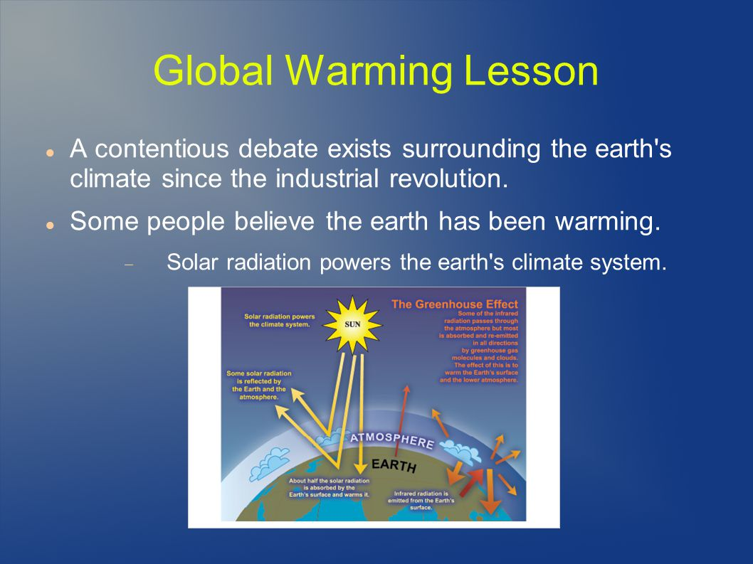 Global Warming Lesson A contentious debate exists surrounding the earth s climate since the industrial revolution.
