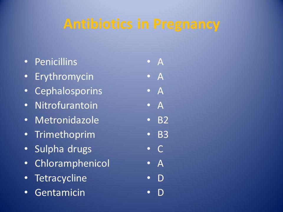 Antibiotics in Pregnancy Penicillins Erythromycin Cephalosporins Nitrofurantoin Metronidazole Trimethoprim Sulpha drugs Chloramphenicol Tetracycline Gentamicin A A A A B2 B3 C A D D