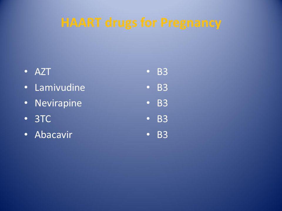 HAART drugs for Pregnancy AZT Lamivudine Nevirapine 3TC Abacavir B3