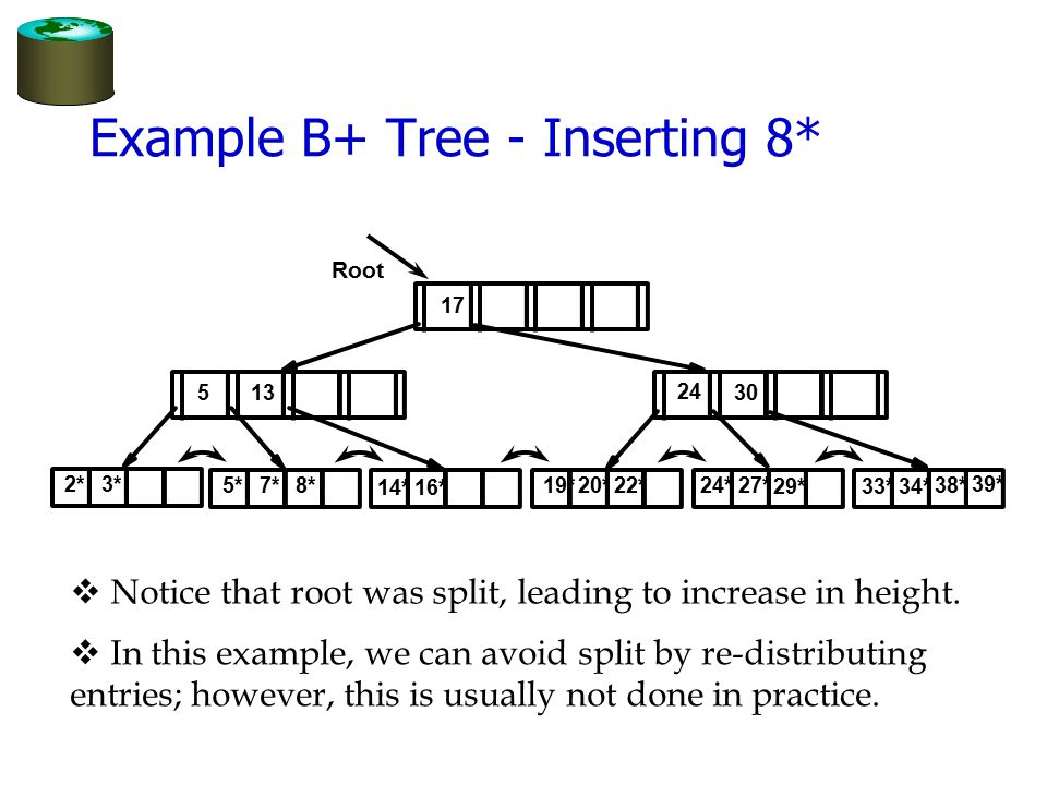 Example B+ Tree - Inserting 8* v Notice that root was split, leading to increase in height. v In this example, we can avoid split by re-distributing e