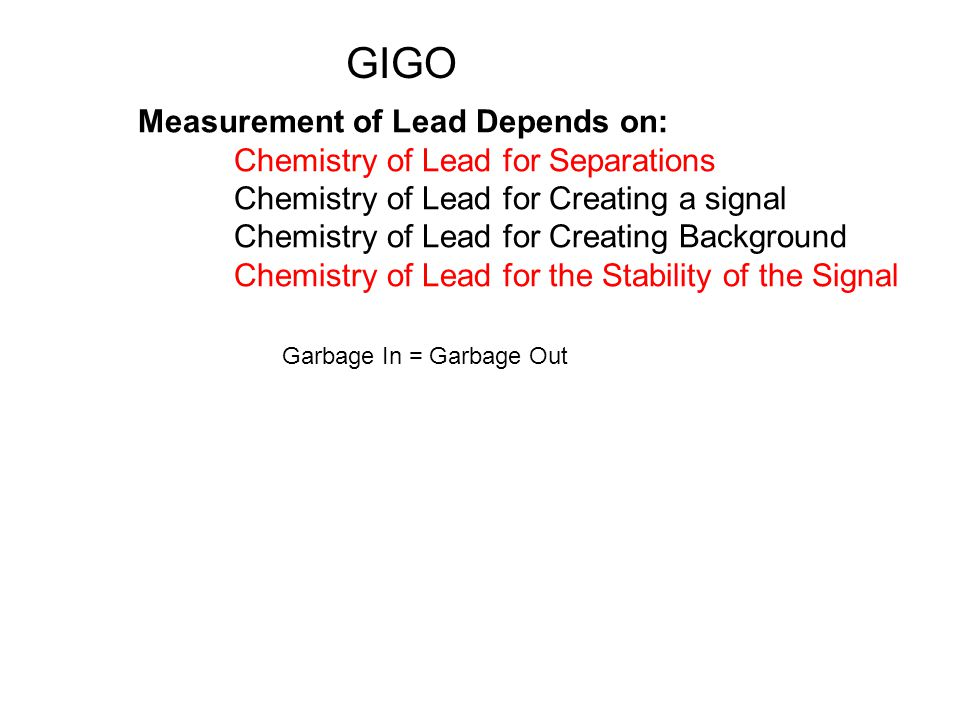 Measurement of Lead Depends on: Chemistry of Lead for Separations Chemistry of Lead for Creating a signal Chemistry of Lead for Creating Background Chemistry of Lead for the Stability of the Signal Garbage In = Garbage Out GIGO