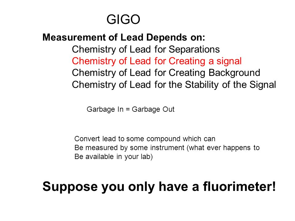 Measurement of Lead Depends on: Chemistry of Lead for Separations Chemistry of Lead for Creating a signal Chemistry of Lead for Creating Background Chemistry of Lead for the Stability of the Signal Garbage In = Garbage Out GIGO Convert lead to some compound which can Be measured by some instrument (what ever happens to Be available in your lab) Suppose you only have a fluorimeter!
