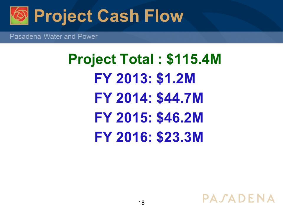 Pasadena Water and Power Project Cash Flow Project Total : $115.4M FY 2013: $1.2M FY 2014: $44.7M FY 2015: $46.2M FY 2016: $23.3M 18