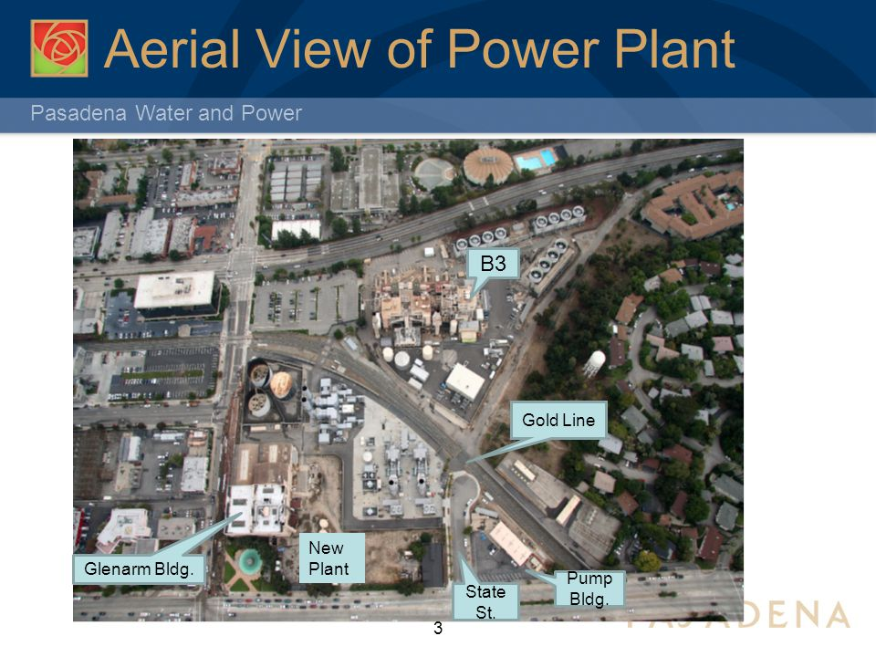 Pasadena Water and Power Aerial View of Power Plant 3 New Plant Pump Bldg. State St. B3 Gold Line Glenarm Bldg.