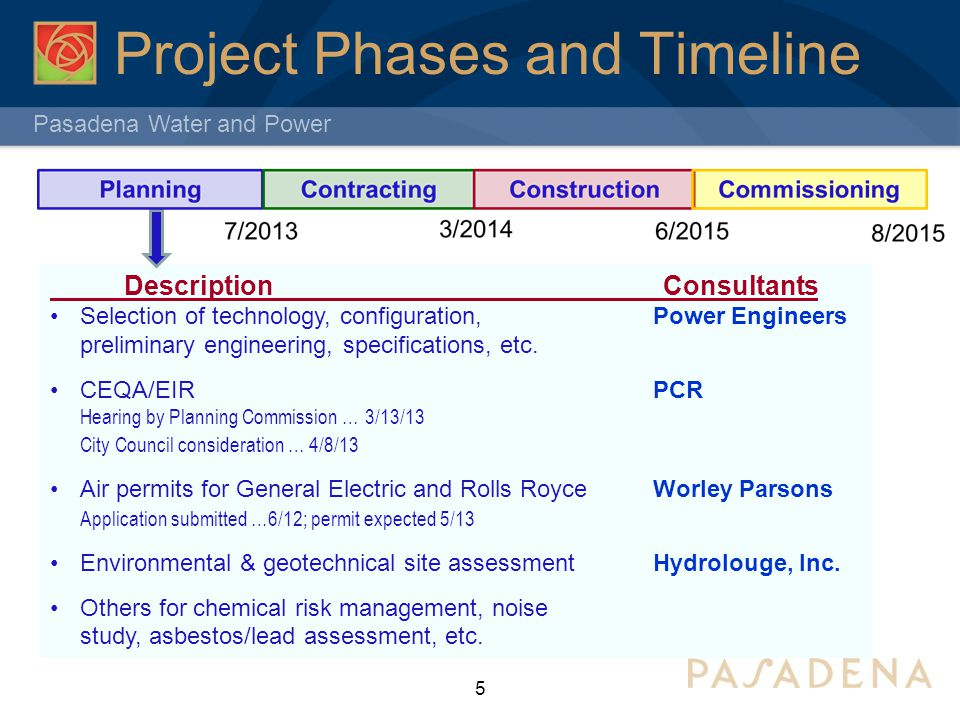 Pasadena Water and Power Project Phases and Timeline 6 Bid Specifications for major equipment i.e.