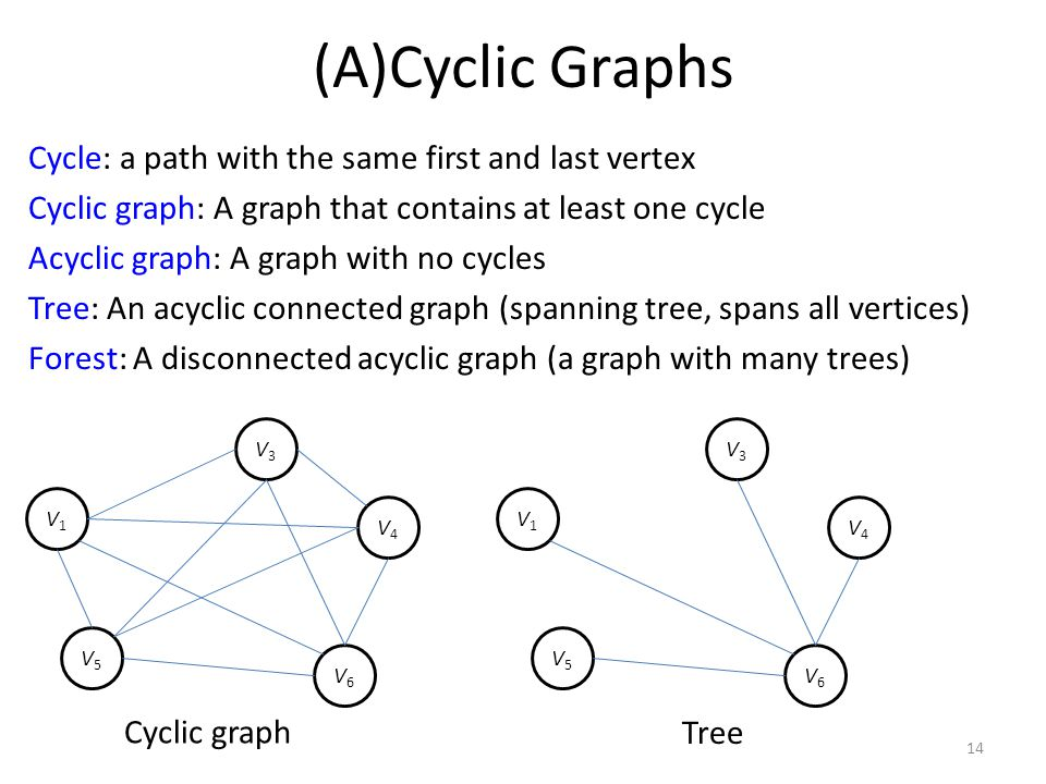 (A)Cyclic Graphs Cycle: a path with the same first and last vertex Cyclic graph: A graph that contains at least one cycle Acyclic graph: A graph with no cycles Tree: An acyclic connected graph (spanning tree, spans all vertices) Forest: A disconnected acyclic graph (a graph with many trees) 14 V1V1 V3V3 V4V4 V5V5 V6V6 V1V1 V3V3 V4V4 V5V5 V6V6 Cyclic graph Tree