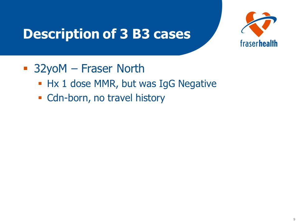 9 9 Description of 3 B3 cases  32yoM – Fraser North  Hx 1 dose MMR, but was IgG Negative  Cdn-born, no travel history