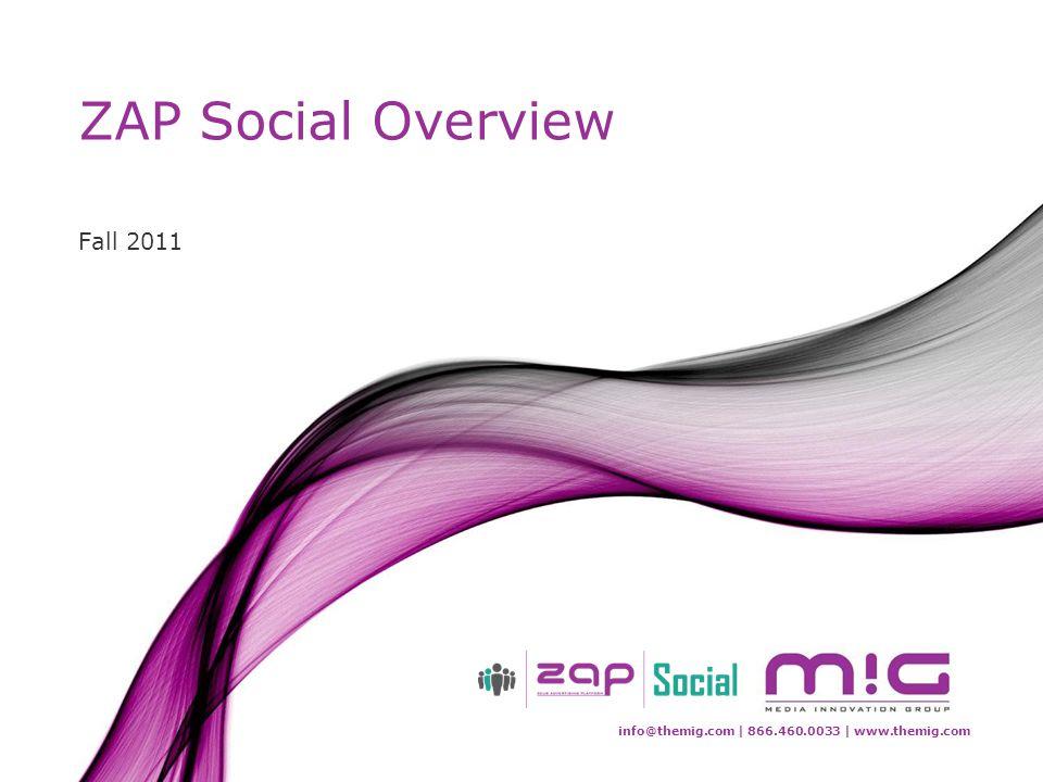 info@themig.com | 866.460.0033 | www.themig.com ZAP Social Overview Fall 2011