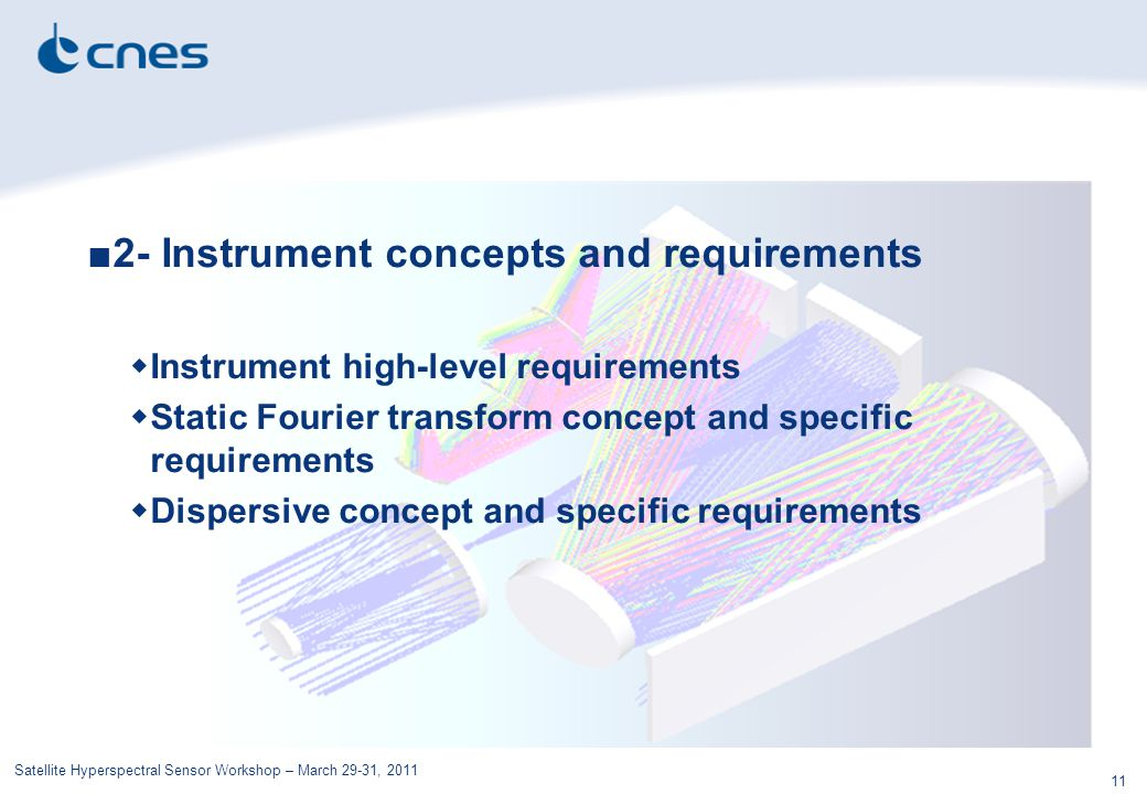 Satellite Hyperspectral Sensor Workshop – March 29-31, 2011 11 ■2- Instrument concepts and requirements  Instrument high-level requirements  Static