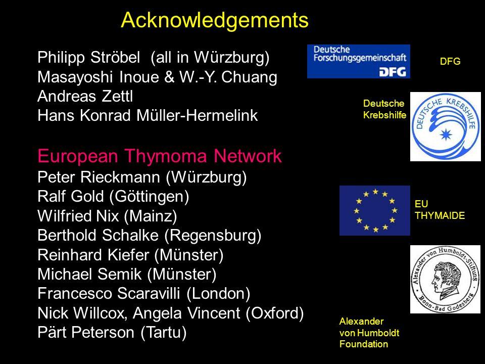 Philipp Ströbel (all in Würzburg) Masayoshi Inoue & W.-Y. Chuang Andreas Zettl Hans Konrad Müller-Hermelink European Thymoma Network Peter Rieckmann (