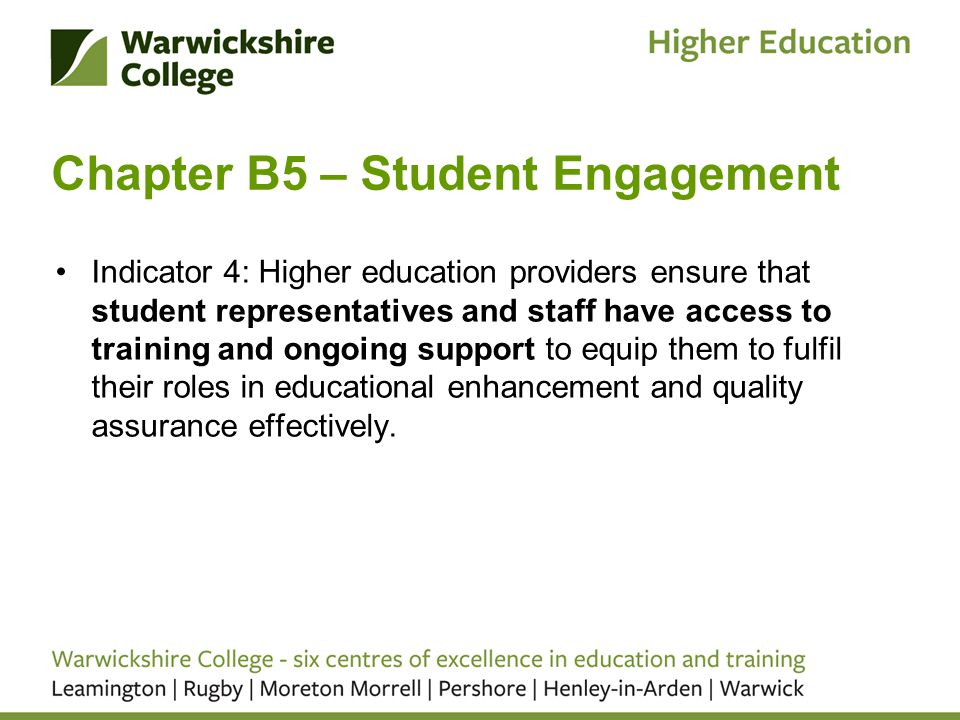 Chapter B5 – Student Engagement Indicator 4: Higher education providers ensure that student representatives and staff have access to training and ongoing support to equip them to fulfil their roles in educational enhancement and quality assurance effectively.
